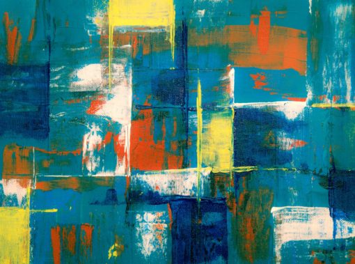 teal and yellow wall painting