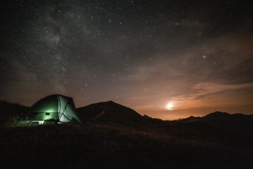 dome tent at night