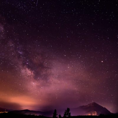wormeye view photo of milky way